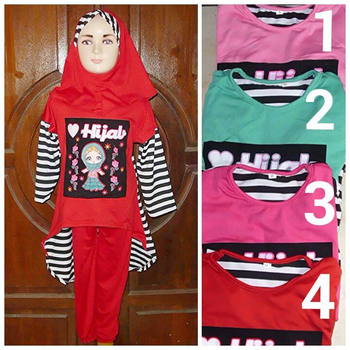 Baju Muslim Anak Hijab Setelan Celana Usia 6 - 8 Tahun