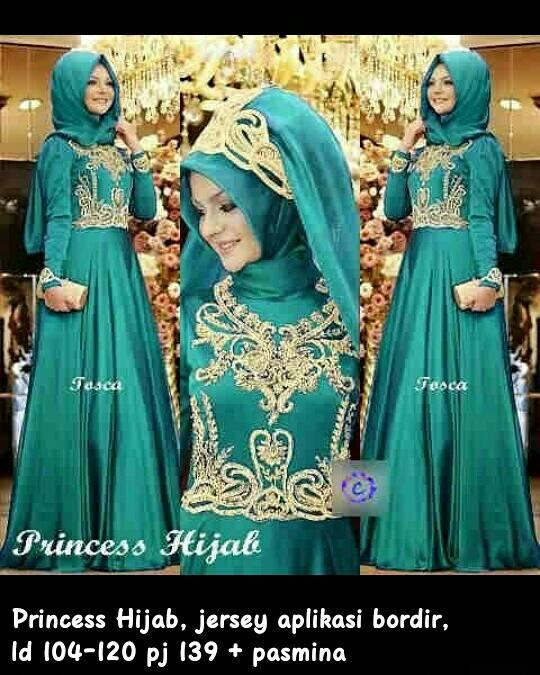 Princess Set Hijab Maxi Gamis Kaftan Syari Bergo Busana Muslim