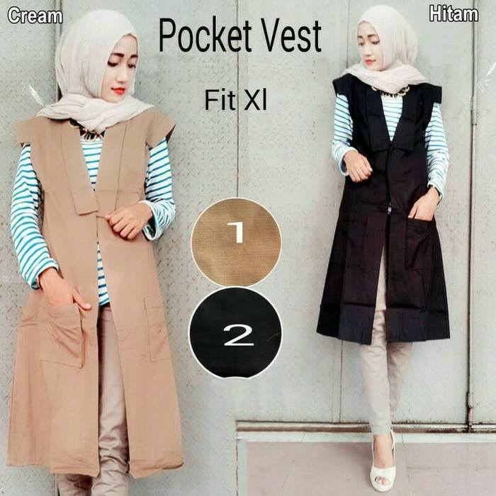 POCKET VEST LONG OUTER , KATUN , BAJU FASHION HIJAB MUSLIM