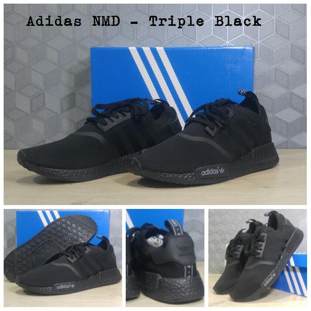 73e5e7f14f2cf ... order jual sepatu running adidas nmd runner triple black sneakers  casual basketballareaid tokopedia e0928 d0d39