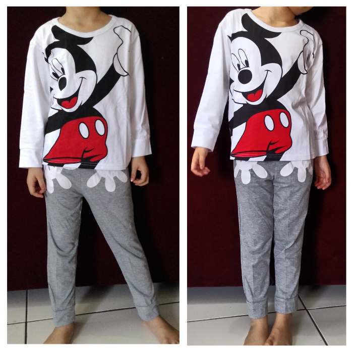 STKDL151 - Setelan Anak Laki Mickey Mouse Hi White Misty Murah
