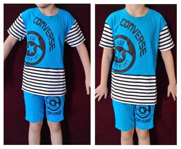 STKDL197 - Setelan Anak Laki Converse Blue Stripe Black Murah