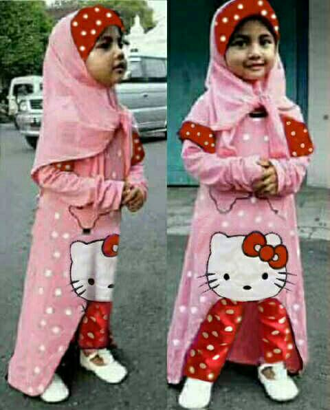 set kiddy hijab mickey polka