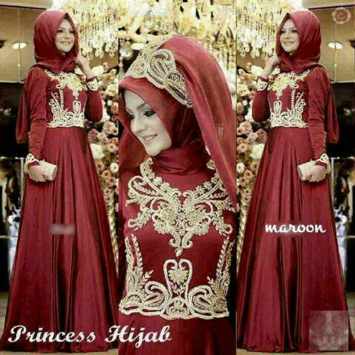 V1117 Princess MERAH MARUN hijab maxi dress