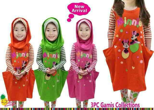 Set Hijab Little Pineapple Minnie Mouse 3~8 tahun