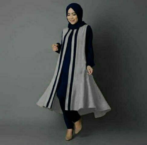 V1118 hijab MELVA ABU tunik setelan