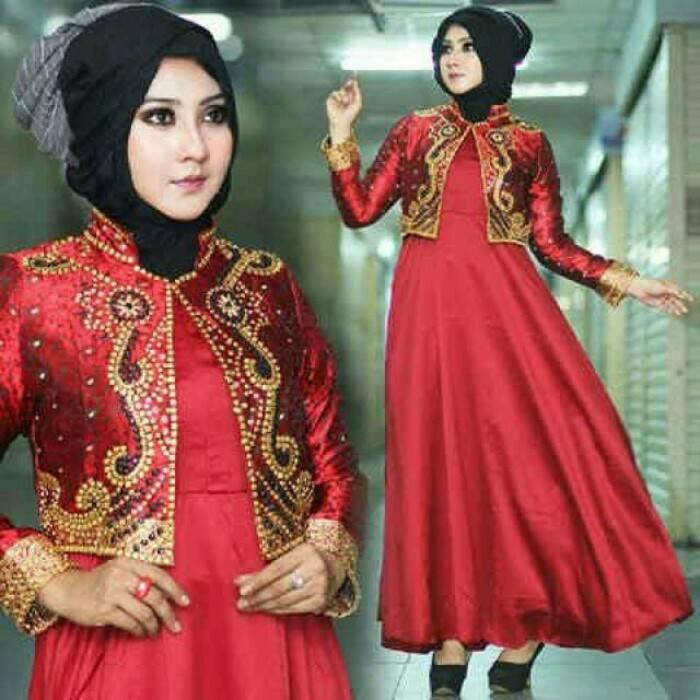 Maxi Gamis Hijab Jodha Cella Satin Velvet Gold Abu Maroon Biru Orens