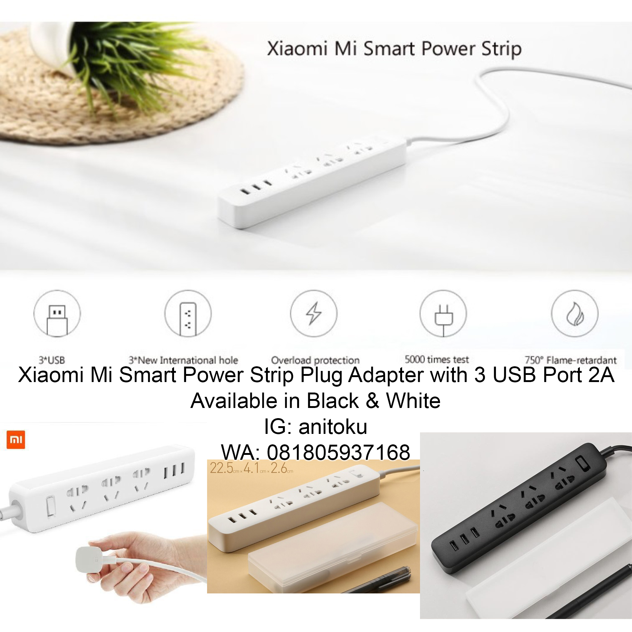 Jual Xiaomi Mi Smart Power Strip Plug Adapter With 3 Usb Port 2a White Anitoku Tokopedia
