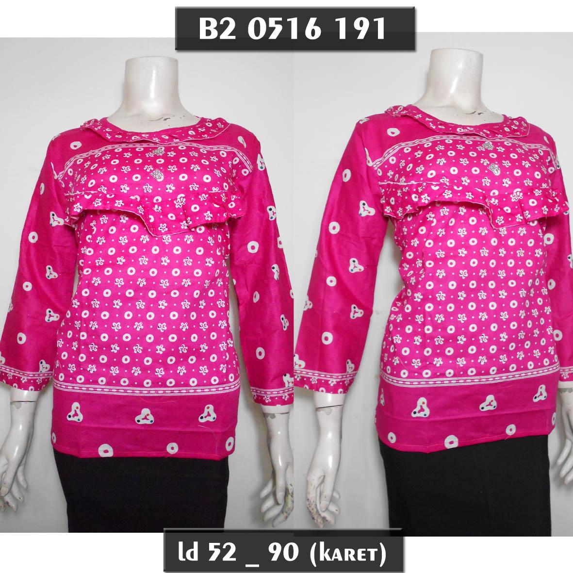 Jual Blus Batik Abg Muslim Pink M Blouse Atasan Lengan Panjang