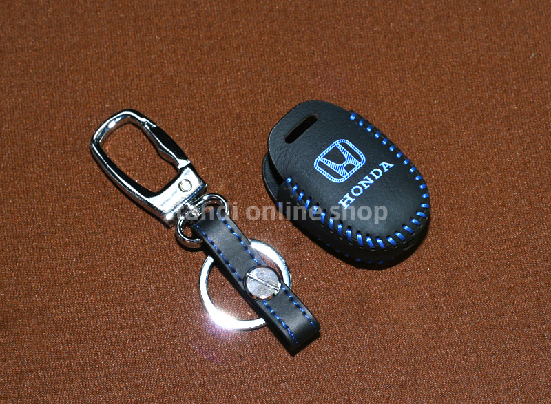 Leather Key Case Sarung Kunci Kulit Honda Mobilio Brio CR-V Jazz Biru