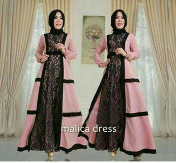malica dress/baju muslim long dress/gamis murah/set hijab