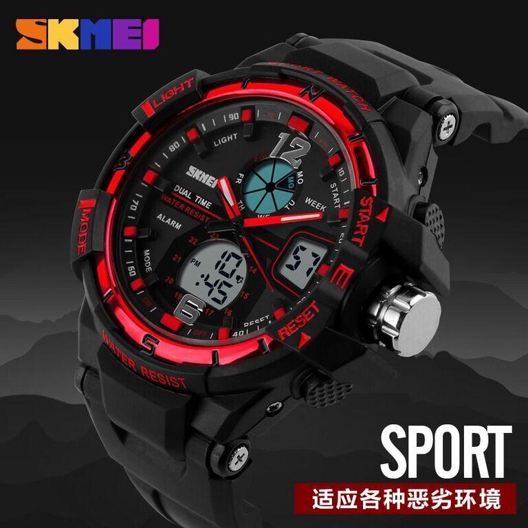 Skmei Men Sport Led Dual Time Watch Anti Air Water Resistant Wr 50m Ad1211 Jam Tangan Pria Tali Strap Karet Day Date Digital Alarm Wristwatch Wrist Watch ...