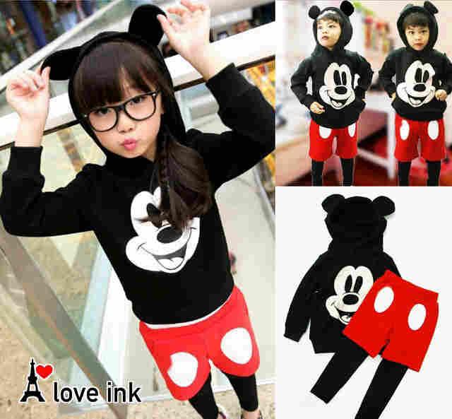 STKD244 - Setelan Anak LP Hoodie Celana Mickey