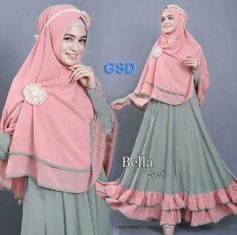 bella syari/terusan dress bergo/stelan hijab/pakaian muslim/baju gamis