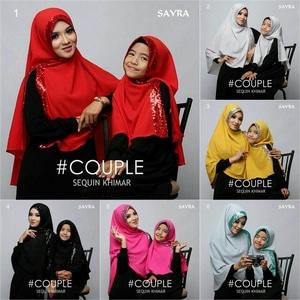 hijab/jilbab Couple Sequin Khimar-kembar