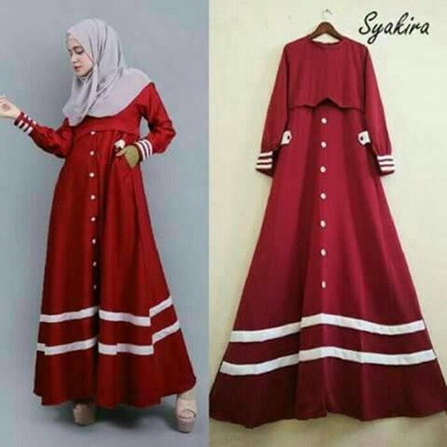 Baju Hijab Murah Syakira Long Dress Red