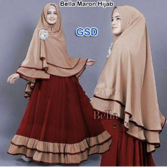 bella hijab marun/terusan dress bergo/stelan hijab/pakaian muslim cewe