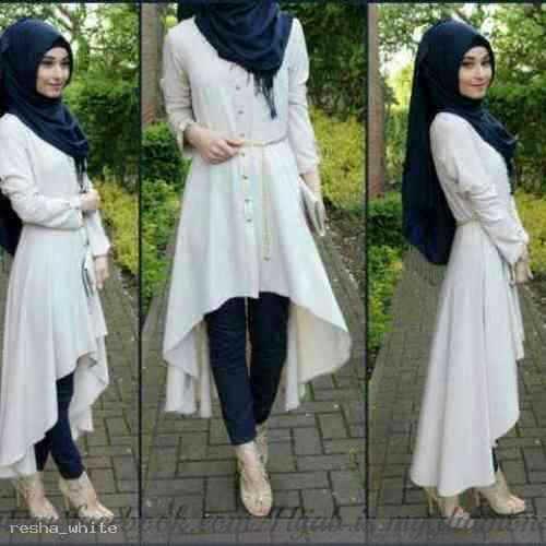 Setelan Hijab Resha White bahan spandek @85