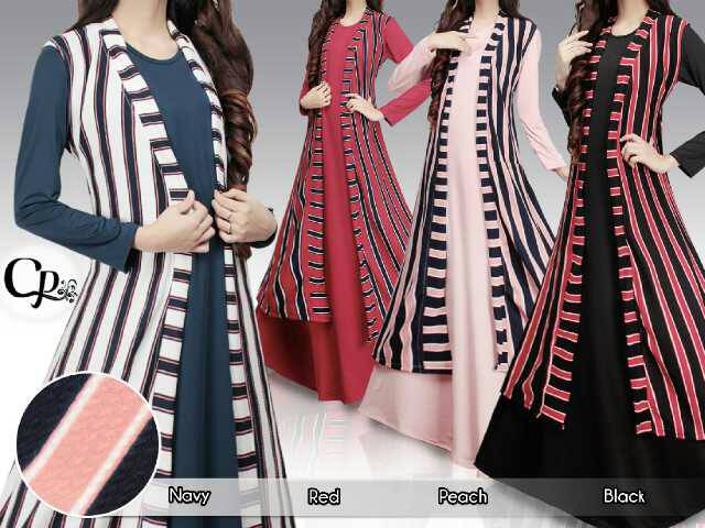KODE 005/GAMIS BASIC POLOS/LONG CARDI WAFEL STRIPE