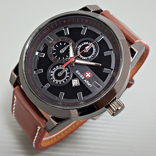Jam Tangan Swiss Army Kulit Leather Triple Chrono Variasi SL2