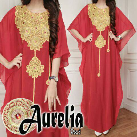 V1081 Kaftan Maxi Dress AURELIA Merah