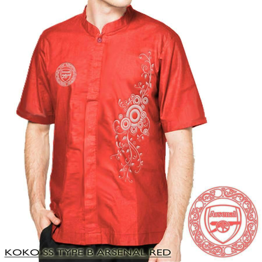 Jual Baju Koko Arsenal Merah Tipe B Pakaian Muslim Cari Jakarta Couple Kemeja Pria Club Bola