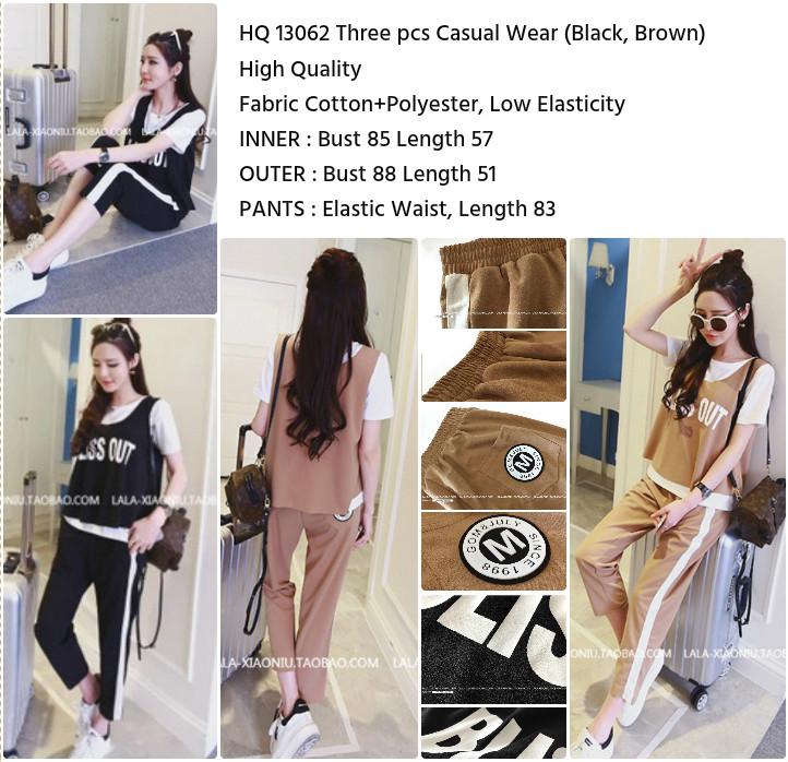 Three pcs Casual Wear (BROWN/BLACK)-13062