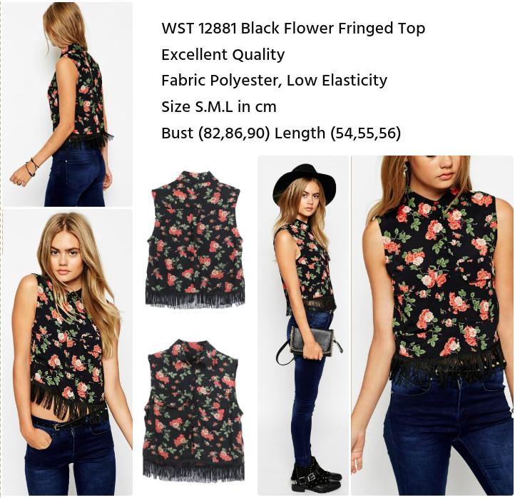 Black Flower Fringed Top (size S,M,L)-12881