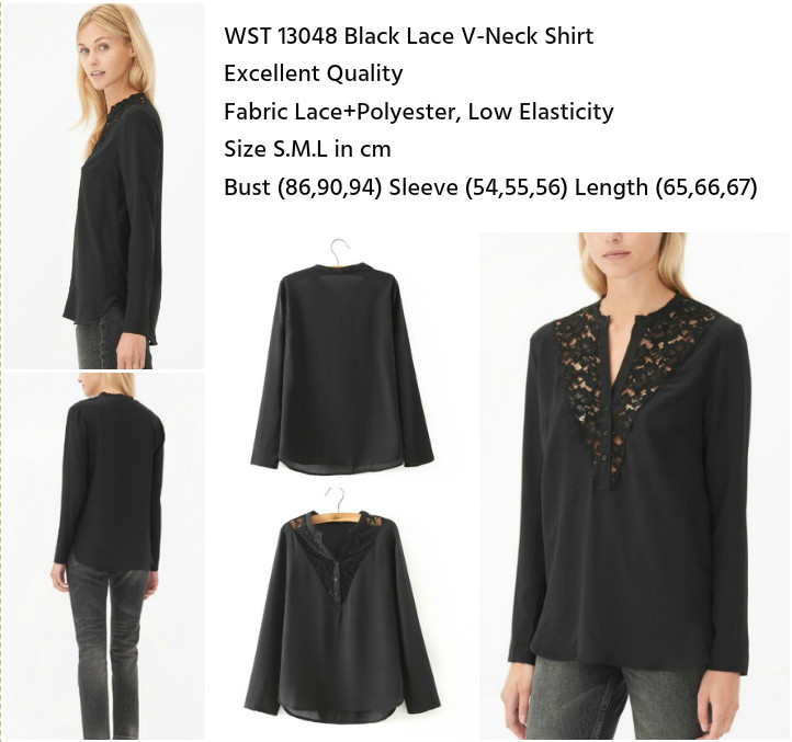 Black Lace V-Neck Shirt (size S,M,L)-13048