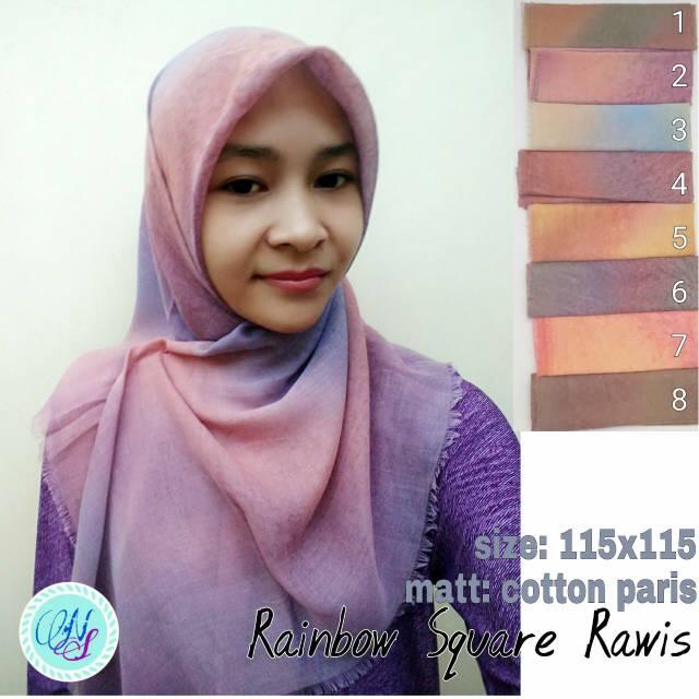 Square ombre rawis jilbab hijab segiempat paris pelangi