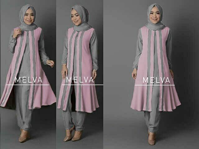 V1043 Hijab MELVA SET Soft Pink Abu