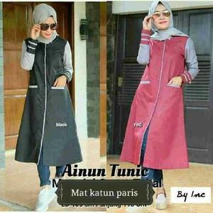 Baju Muslim Wanita/Ainun Tunik/Baju Gamis/Dress Hijab/Baju Kampus