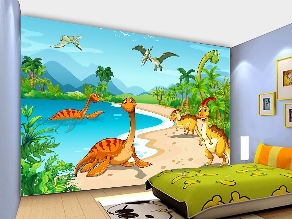 Jual Wallpaper Dinding Custom Motif Dinosaur Cartoon Butik