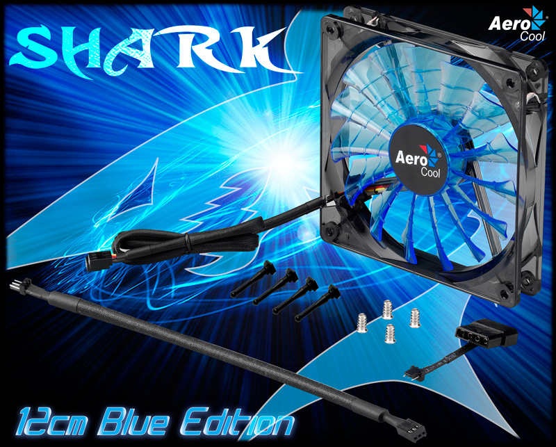 Aerocool 12CM Shark Fan (Blue / Red / White LED)