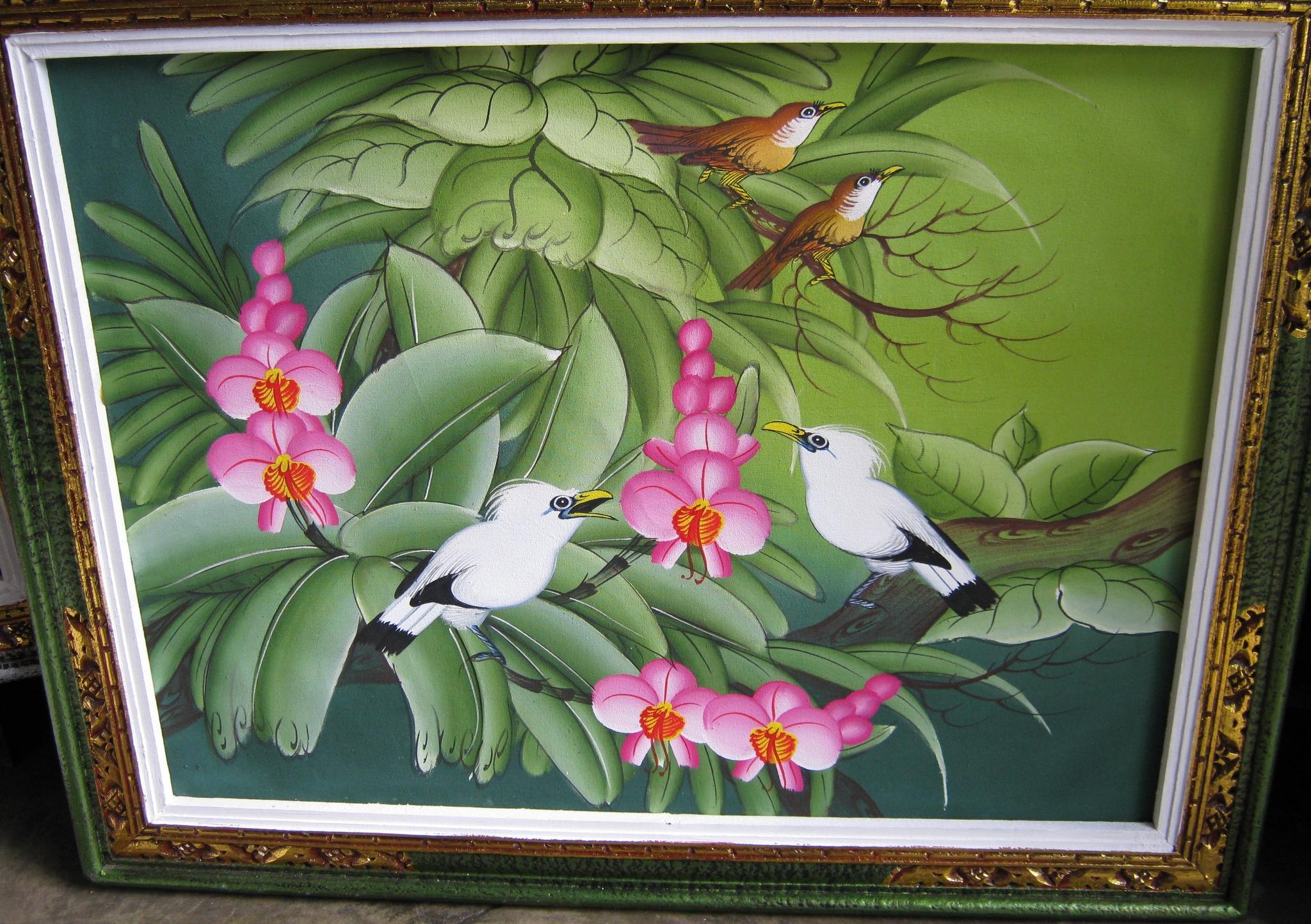 Jual Lukisan Burung Jalak Bali Background Hijau Bagus Art Tokopedia
