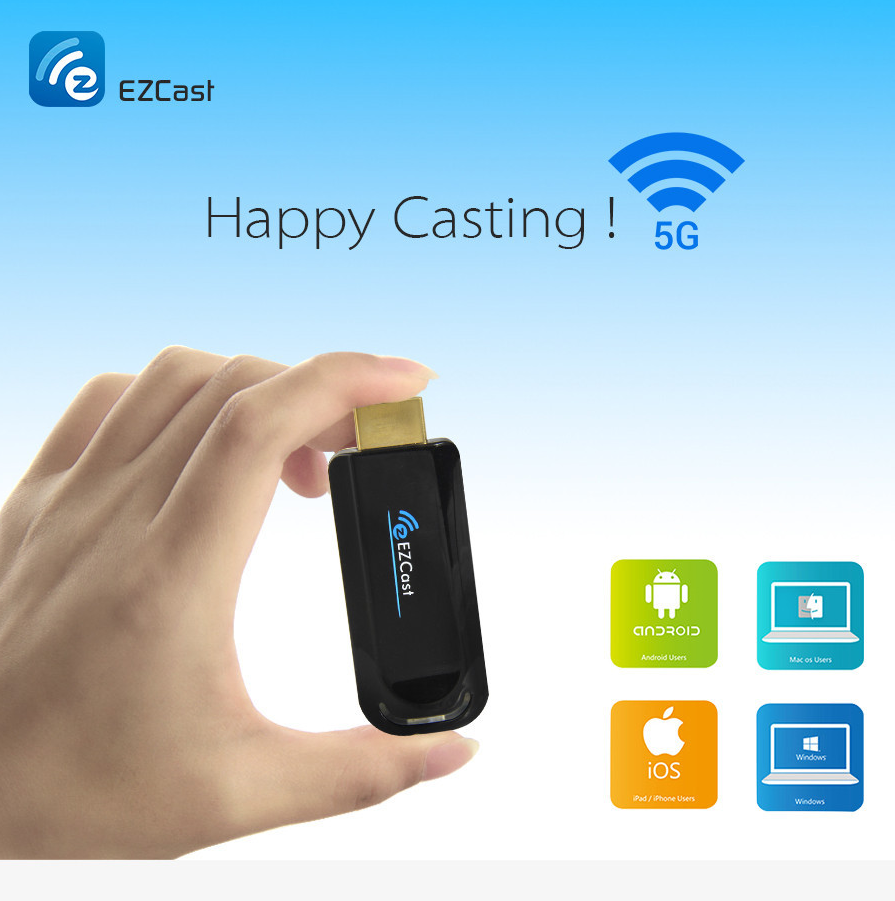 Ezcast 5G TV Stick Dongle Miracast HDMI Mirror TV Airplay