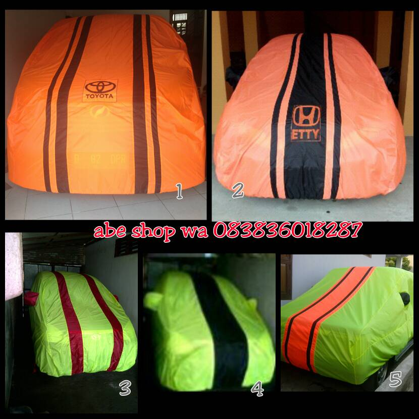 cover mobil logo orange/hijau jazz,yaris,brio,agya,ayla,vios,fiesta