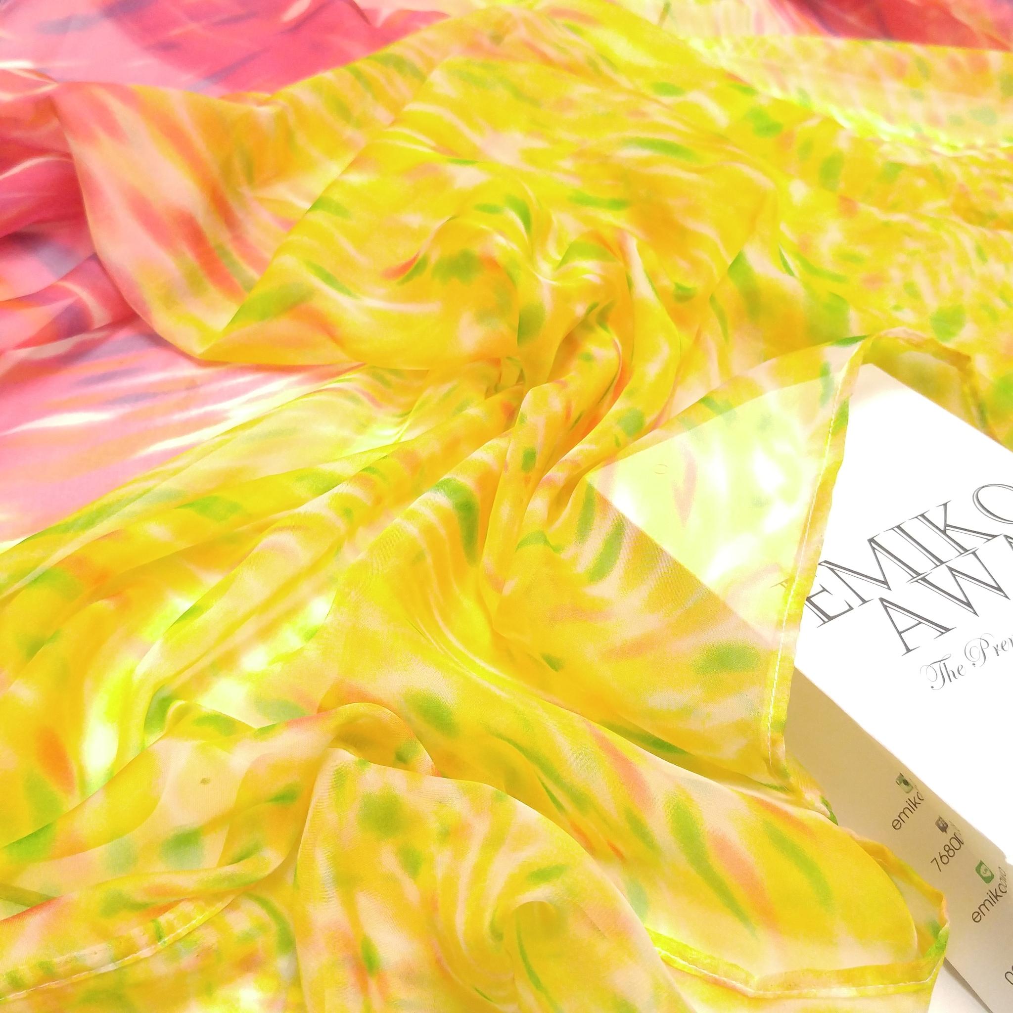 Half yellow -  scarf / pashmina motif / hijab / syal / shawl
