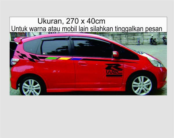stiker mobil jazz merah
