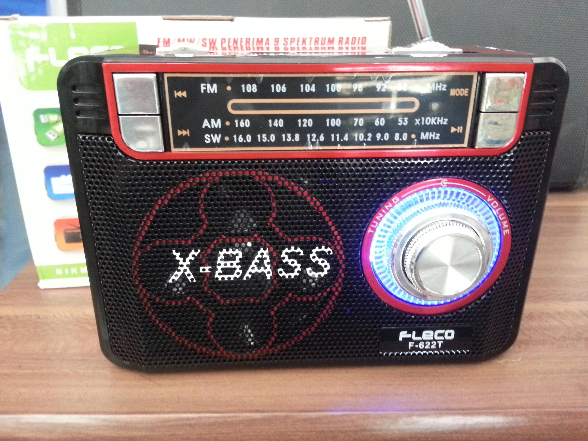 Mp3 Player + Radio + Senter Fleco F622t Dengan Usb, Kartu Memori, Au