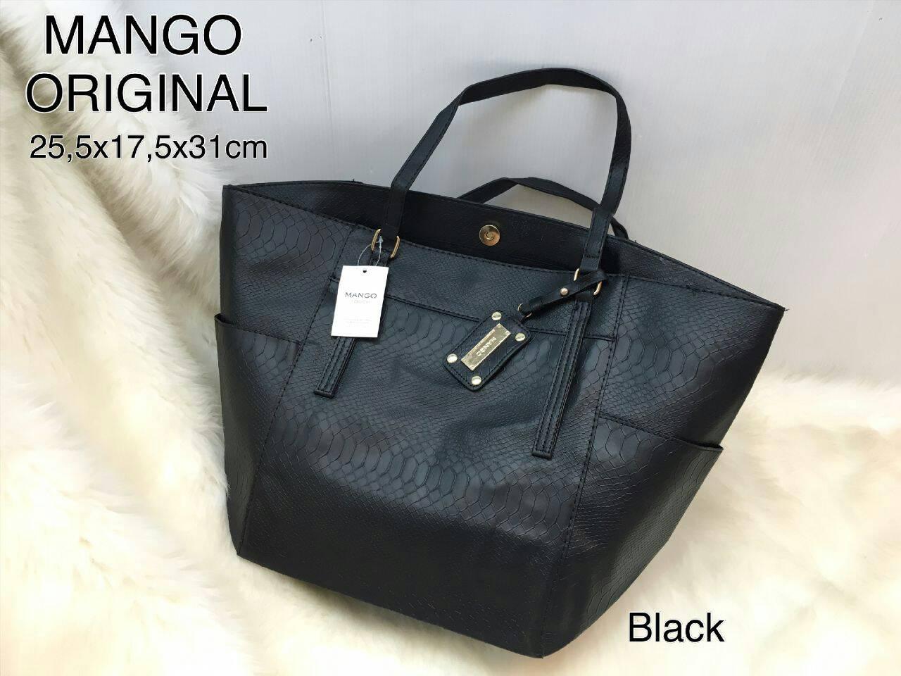Jual Tas Mango Original Black Navy Tenteng Handbag Tas Kantor Wanita