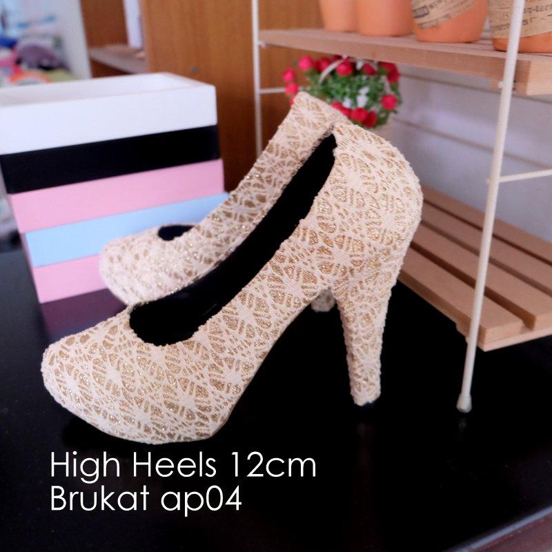 Jual Sepatu High Heels Pantofel Suede Cream Brukat Wanita Pesta ... 1c281af30a