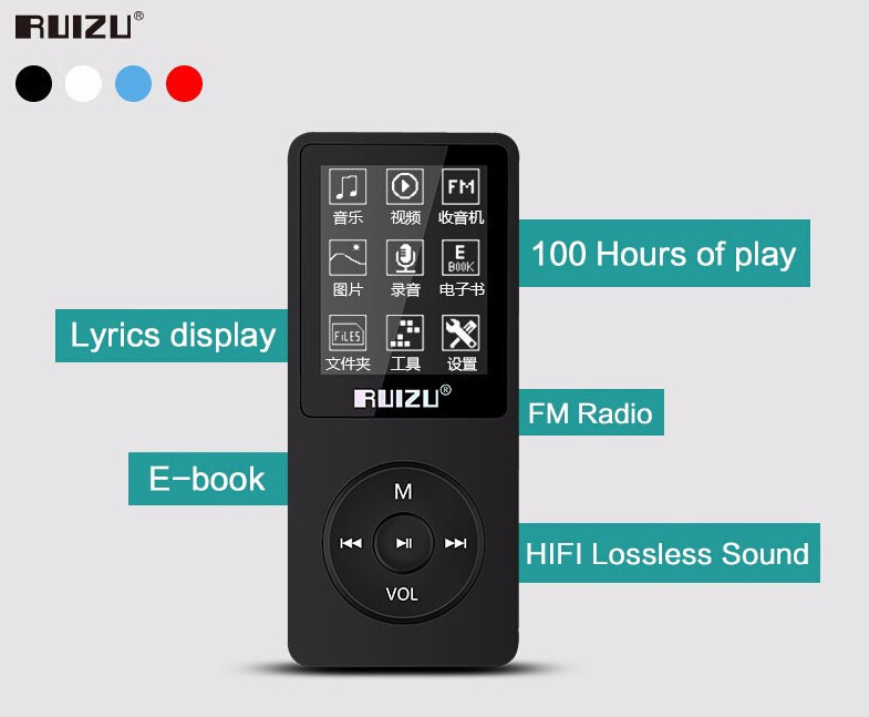 Ruizu X02 HiFi DAP MP3 Player 8GB - Black