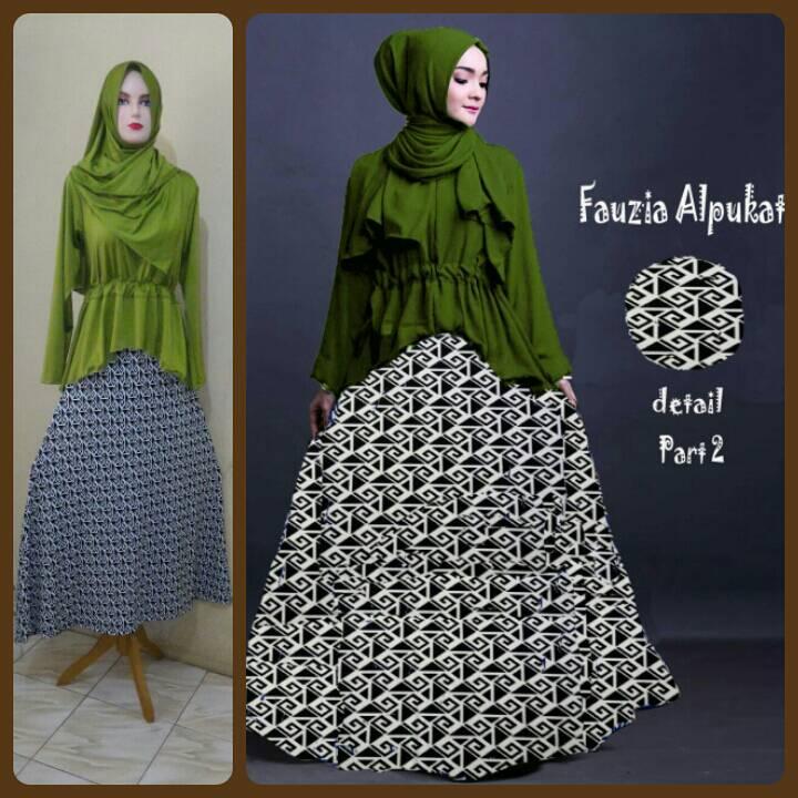 Gamis Syari murah Fauzia Set Alpukat (Cantik Terbaru Modis Modern)