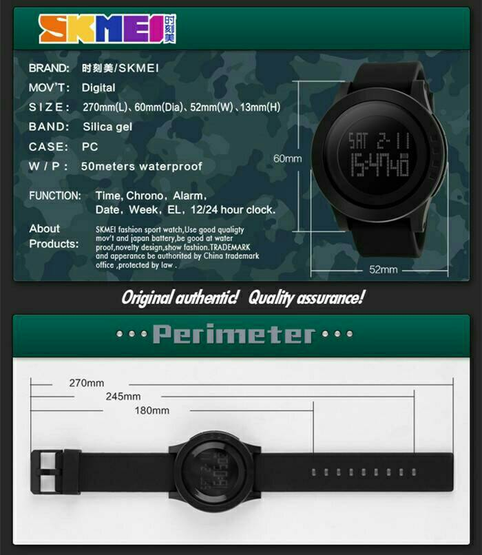 Skmei 1142 Sport LED Digital Watch Water Resistance 50M ORIGINAL