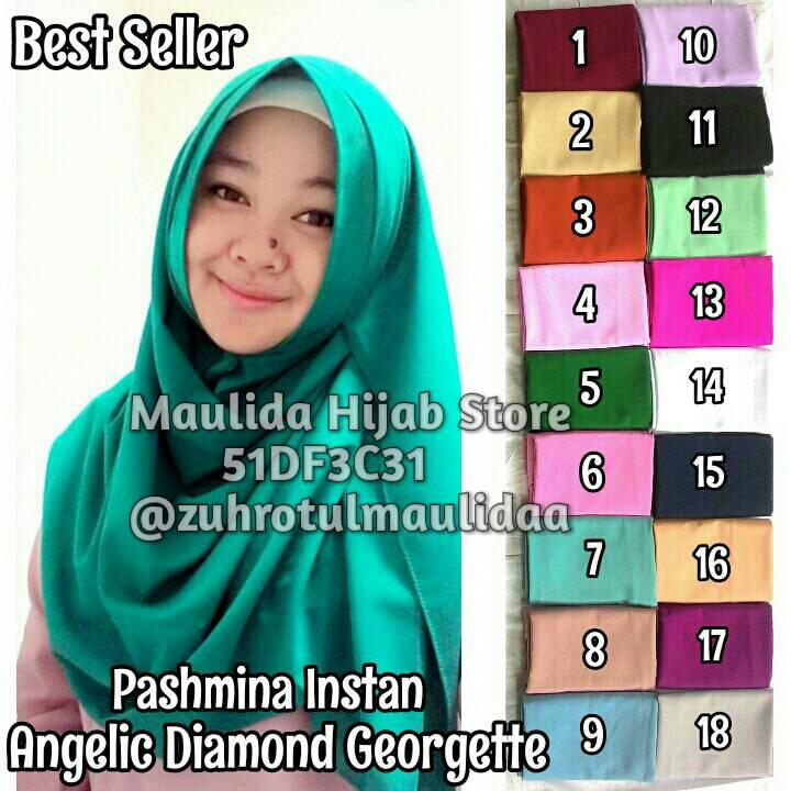 Pashmina Instan Angelic Diamond Crepe / khimar / maulida hijab store
