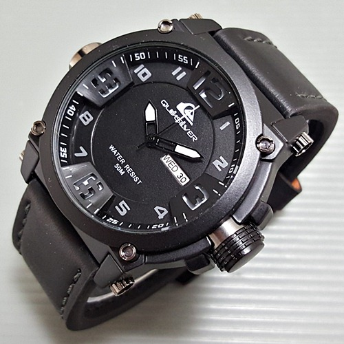 Jam Tangan Pria / Cowok Quiksilver Number Daydate Leather Black
