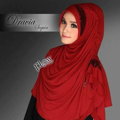 khimar / bergo / hijab / jilbab instan syari dravia sequin