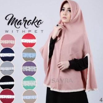 Hijab Khimar Maroko Withpet Jilbab Kerudung
