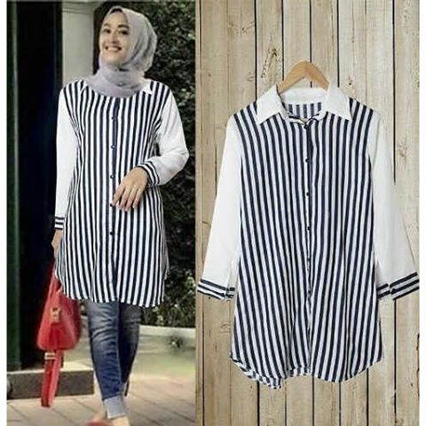 Baju Hijab Murah Long Shirt Salur